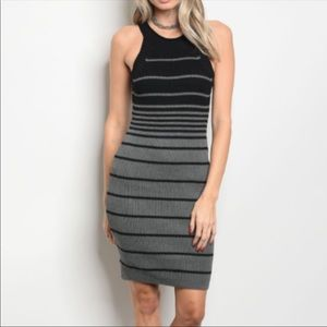 Charcoal and Black Cotton Sweater Dress
